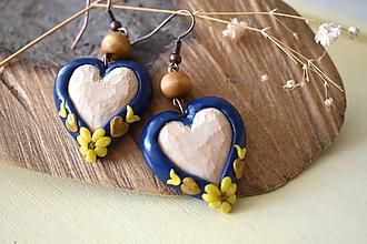 Náušnice - modré folk náušnice s lipovými  srdiečkami - 11201917_