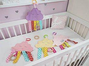Hračky - Minky Mráčik ružový s dreveným aj plastovým hrýzatkom pre bábätko - 11203051_