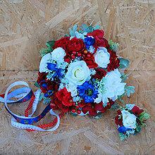 Kytice pre nevestu - Svadobná kytica folklórna s ružami, nevädzami, makmi - 11206256_