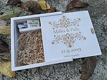 Krabičky - Drevená svadobná krabička folk na foto a USB - 11204691_
