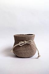 Košíky - Košík háčkovaný | Mešec | Hnedý - Béžový | svetlý | malý - 11205199_