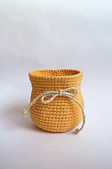 Košíky - Košík háčkovaný | Mešec | Žltý | stredný - 11205666_