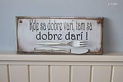 Tabuľky - Kde sa dobre varí ... vintage tabuľka - 11203465_