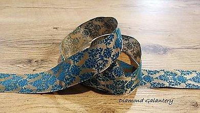 Galantéria - Ozdobná stuha 40 mm - Ornament Tyrkys (Tyrkysová) - 11203000_