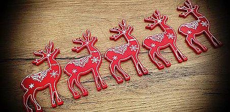 Galantéria - Vianočný výlisok Sobík - Červený - 11205247_