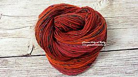 Materiál ručne robený - Červená - ručne pradená merino vlna - 11204108_
