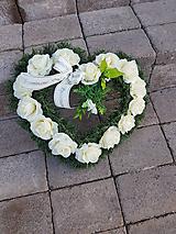 srdce na hrob krémové 40 cm