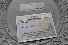 """Papiernictvo - Svadobné oznámenie """"white rose II."""" - 11205545_"""