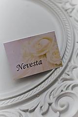 """Papiernictvo - Svadobná menovka pre hostí """"white rose"""" - 11205581_"""