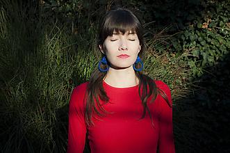Náušnice - Tmavomodrá Eliza - Ručne šité šujtášové náušnice - Soutache earrings - 11203107_