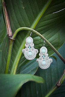 Náušnice - Mentolové - Ručne šité šujtášové náušnice - Soutache earrings - 11203250_