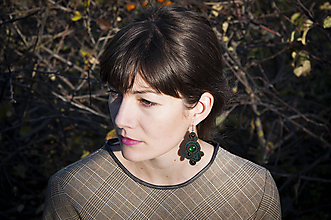 Náušnice - Jesenná elegancia - Ručne šité šujtášové náušnice - Soutache earrings - 11203291_