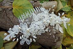 Ozdoby do vlasov - Ivory svadobný hrebienok do vlasov 2 - 11204897_