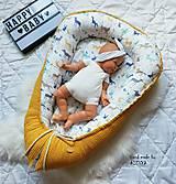 Textil - Hniezdo pre bábätko z vafle bavlny v kombinácií so sýto žltou vafle - 11205148_