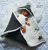 Textil - Zateplena vafle deka so strieškou ( kombinácia vafle a baranček) - 11206157_