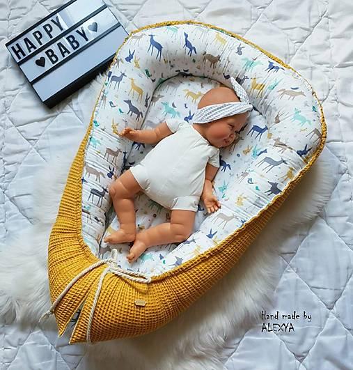 Hniezdo pre bábätko z vafle bavlny v kombinácií so sýto žltou vafle