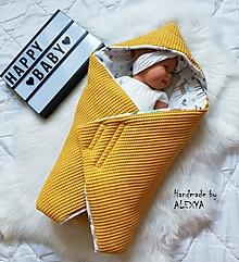 Textil - Zateplená vafle deka so strieškou z vafle bavny v sýto žltej farbe - 11205171_