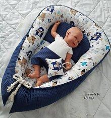 Textil - Hniezdo pre bábätko z vafle bavnlny v modrej jeans - 11205447_
