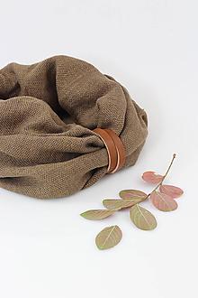 """Doplnky - Kolekcia """"Herbal"""" Hnedý ľanový nákrčník s koženým remienkom - 11204626_"""