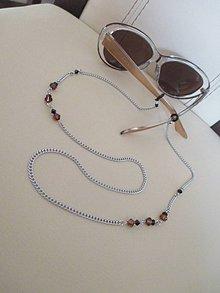 Iné šperky - Swarovski - retiazka na okuliare - hnedo/čierna - chirurgická oceľ - 11203202_