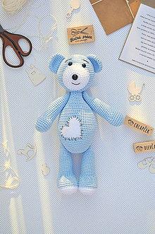 Hračky - háčkovaný macko, modrý - 11204770_