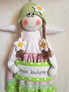 Dekorácie - Velky anielik s cedulkou Naša kuchyňa - 11203178_