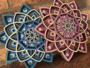 Dekorácie - 3D drevena MANDALA, 10 vrstiev - 11204605_