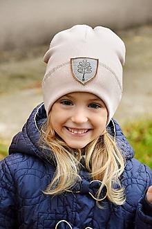 Detské čiapky - Flexi čiapka s aplikáciou-staroružová - 11206327_