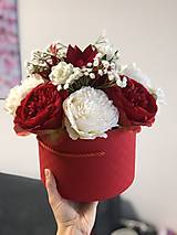 Dekorácie - Červeno-biely box pivoňka - 11205729_