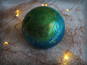 Dekorácie - MODRO- ZELENÉ vianočné gule s 3D fotkou - 11205082_