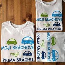 """Detské oblečenie - Maľované tričko/ body s nápisom """"Můj brácha má prima bráchu"""" (Pre 3 súrodencov - tričká s dlhým rukavom) - 11205480_"""
