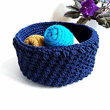 Košíky - Háčkovaný košík - modrý - 11205834_