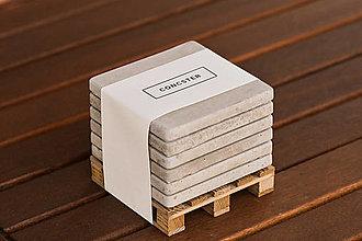 Dekorácie - Industriálne betónové podpivníky / podtácky [6ks + paletka] - 11204772_