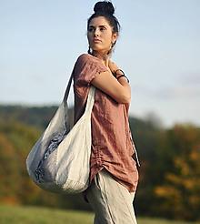 Veľké tašky - Velká lněná tiskaná s kytkama - 11205962_