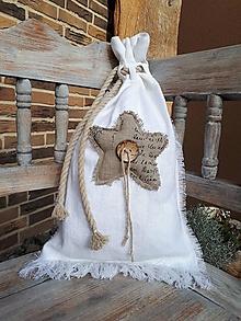 Úžitkový textil - Mikulášske vrecko Natur Christmas Hviezda - 11204070_