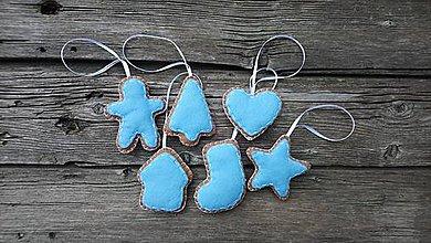 Dekorácie - Vianočné ozdoby Perníčky (Modrá) - 11209930_