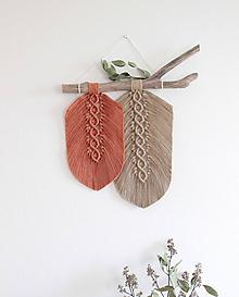 """Dekorácie - makramé listy """"minimalizmus"""" oranžovo-hnedé - 11207074_"""