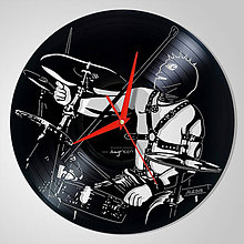 Hodiny - Drummer SM, Bubeník - vinylové hodiny (vinyl clocks) - 11207077_
