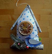 Dekorácie - Domček s modrým vtákom - 11209605_