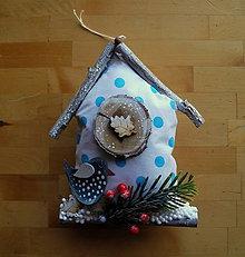Dekorácie - Domček s tyrkysovým vtákom - 11209648_