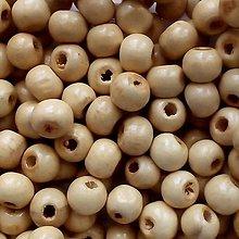 Korálky - Drevené korálky 7x8mm-50ks (krémová) - 11208201_
