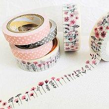 Papier - dekoračná papierová páska Ružové kvietky - 11208269_