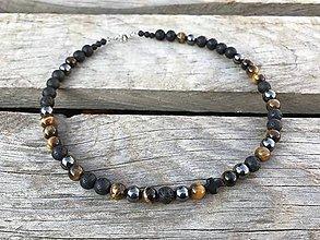 Šperky - Pánsky náhrdelník s krížikom - láva, tigrie oko, hematit - 11206548_