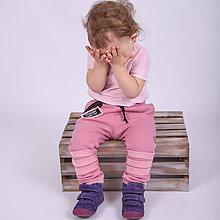 Detské oblečenie - Detské zateplené tepláky - moonrise pink - 11207748_