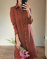 Šaty - Dámske ľanové košeľové šaty STELLA - 11207359_
