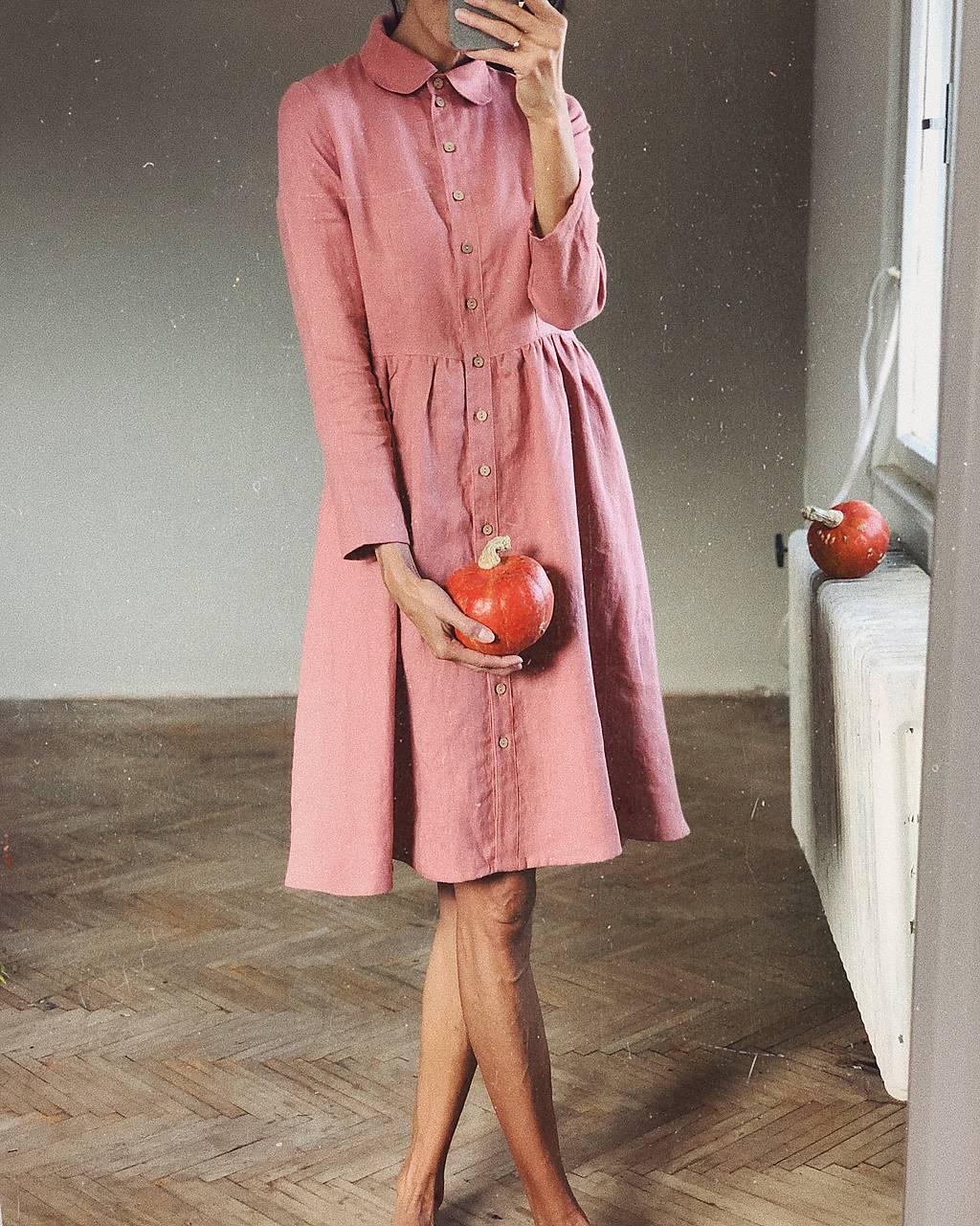 Dámske ľanové šaty WENDY dlhý rukáv