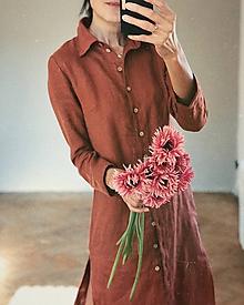 Šaty - Dámske ľanové košeľové šaty STELLA - 11207360_