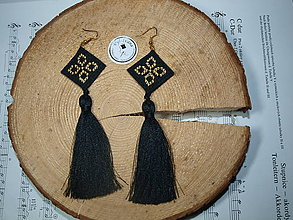 Náušnice - Čierno -  zlaté náušnice - 11209261_