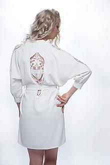 Pyžamy a župany - Svadobný vyšívaný župan - Kaftan - 11207876_