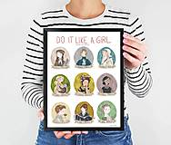 Grafika - Do It Like A Girl - Strong Women In History - Women In Science - Print - Art Print - Wall Art - Illustration - Gift - 11208723_